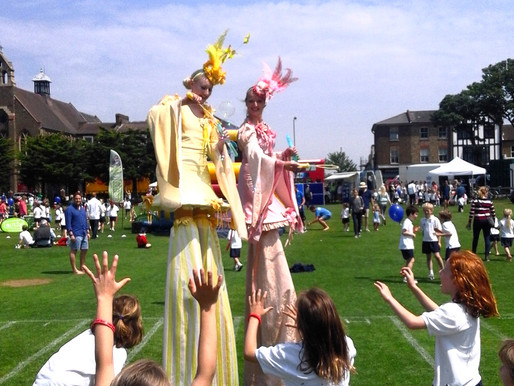 Interactive Stilt Walkers for a School Sports Day