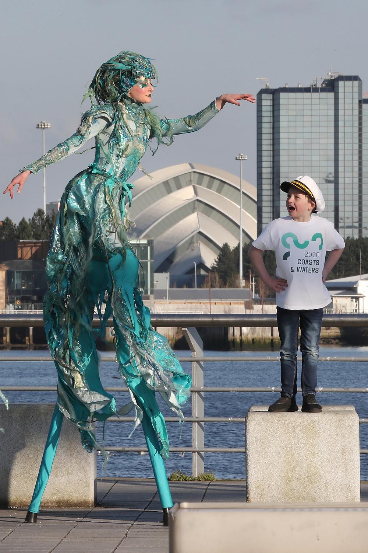 Katie Hardwick mermaid stilt walker for Visit Scotland