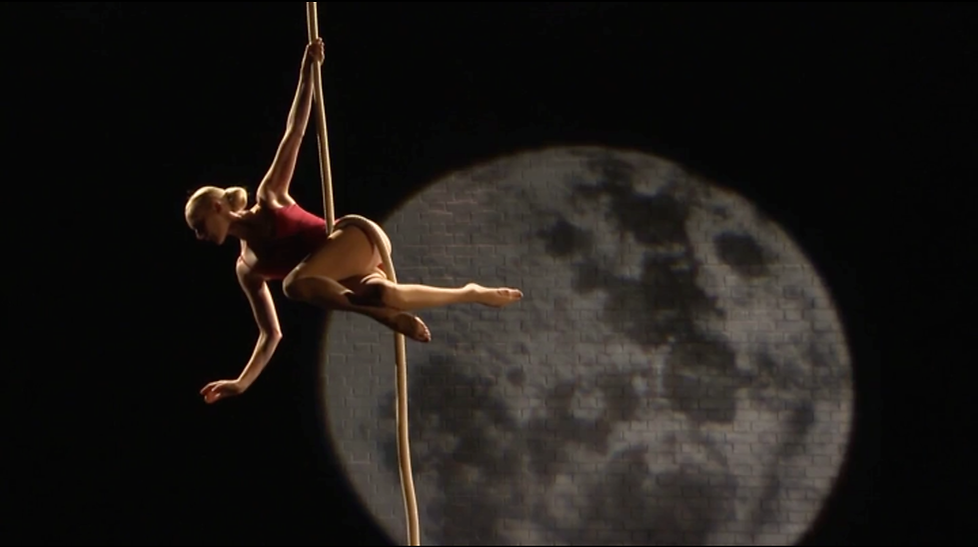 Katie Hardwick Aerial Roper Performer in Music Video with Moon Projection