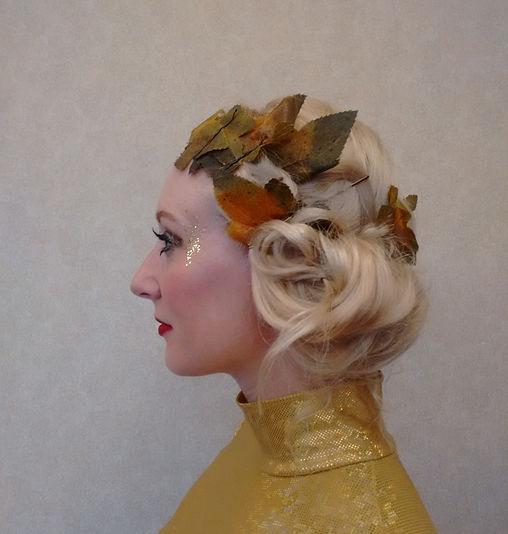 Roman Grecian Hair and Makeup with Autumn Leaves
