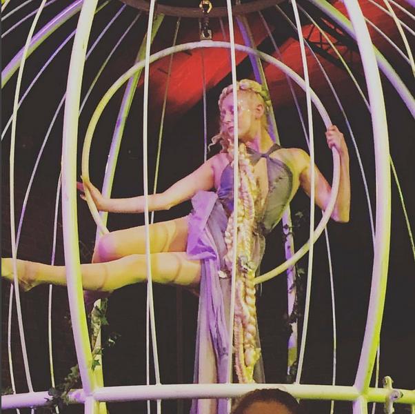Rapunzel aerial hoop act in birdcage by Katie Hardwick