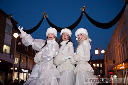 Snow at Kingston Christmas Lights