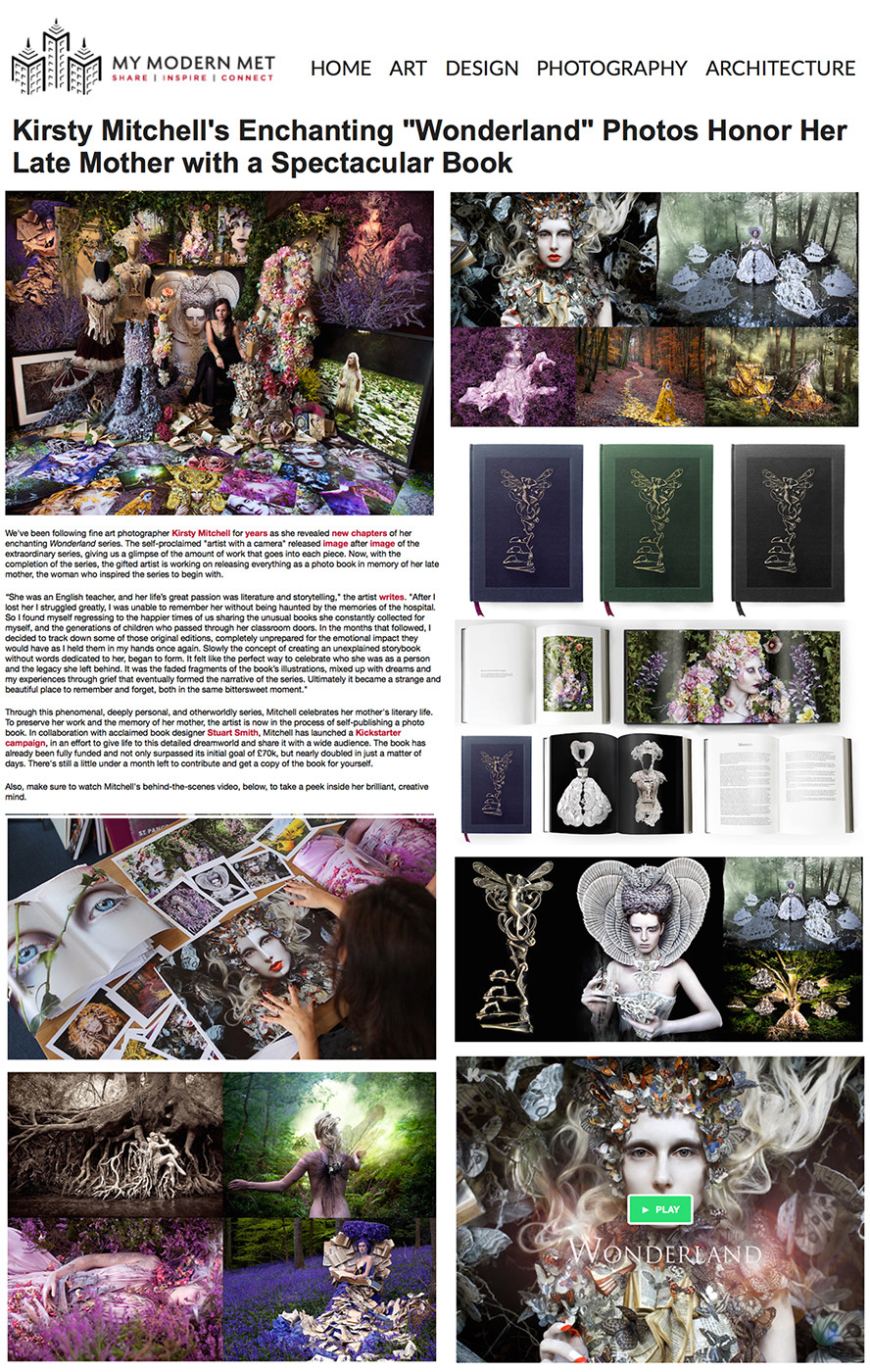 My Modern Met article on Kirsty Mitchell Wonderland Book