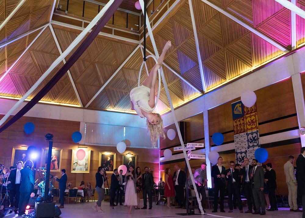 Freestanding aerial rig with aerial hoop performances