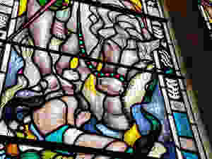 Horse detail in Winston Churchill stained glass window at Bladon
