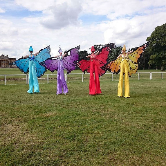 Stilt walking butterflies at Countryfile Live 2016 Blenheim Palace
