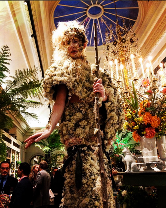 Ethereal mossy stilt walker for Petersham Nurseries Covent Garden opening