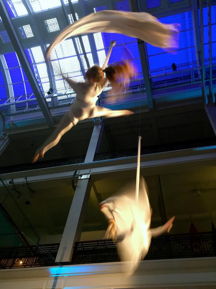Science Museum aerial acrobatics by Viva Aerial Dance