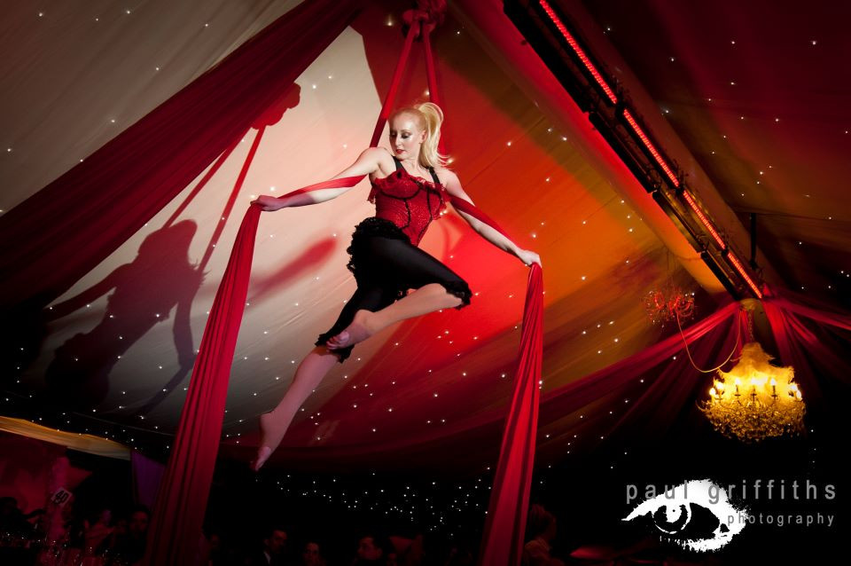 Moulin Rouge silks act Christmas party entertainment