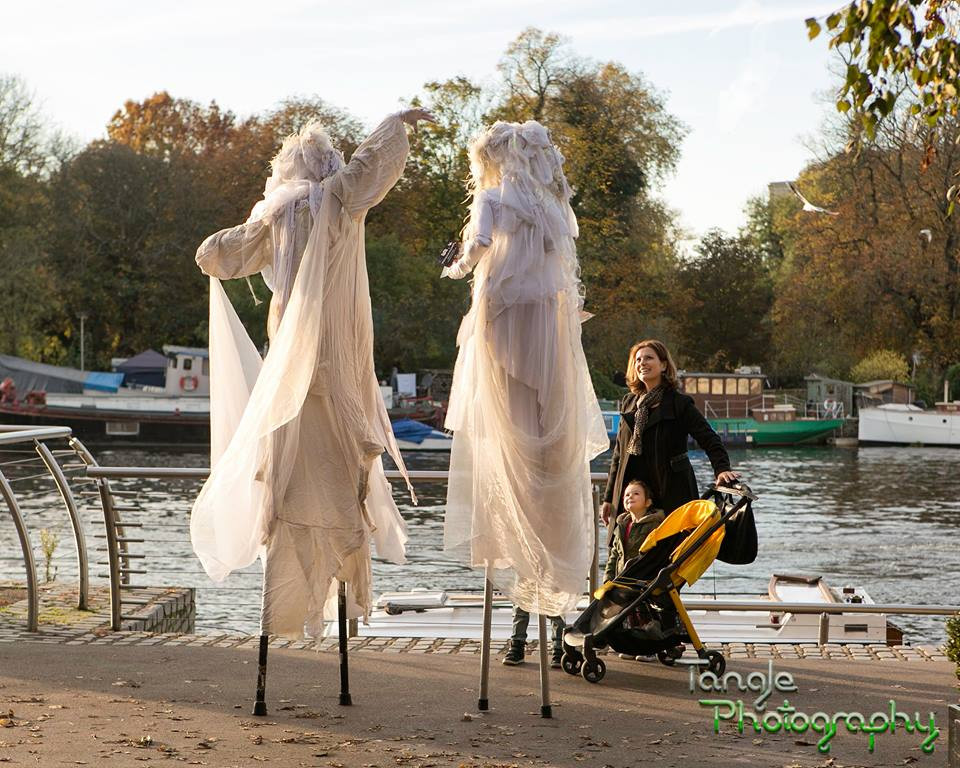 Ghost Halloween Stilt Walkers
