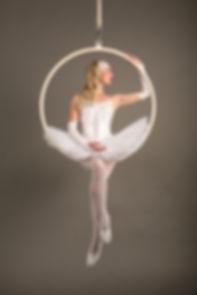Katie Hardwick white ballet aerial hoop costume