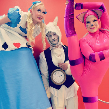 Alice, White Rabbit & Cheshire Cat