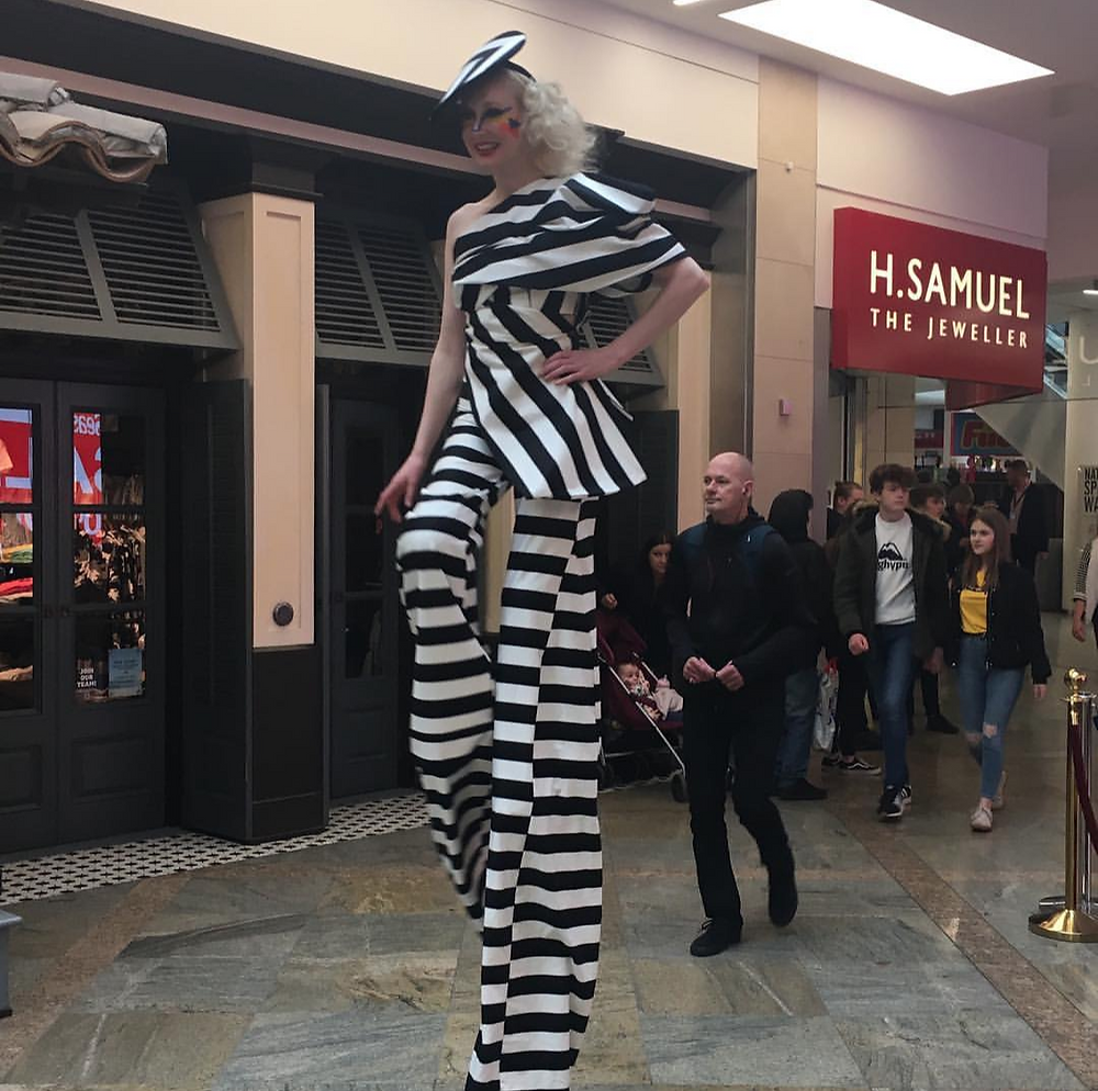 Fashion Circus stilt walker Katie Hardwick