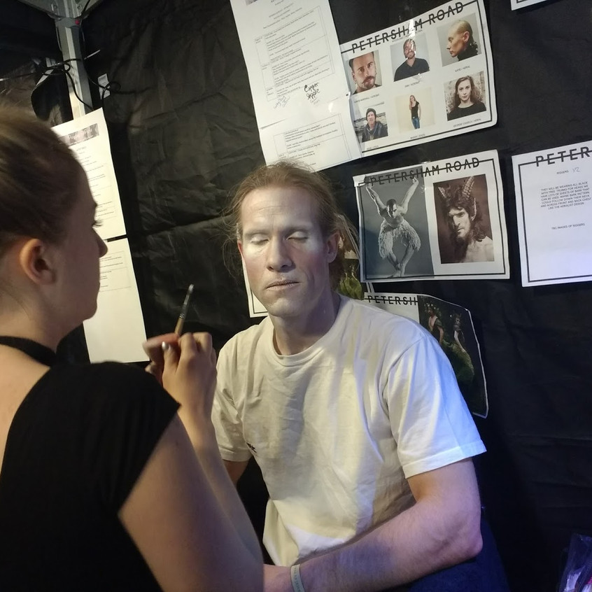 Stilt Walker in Makeup