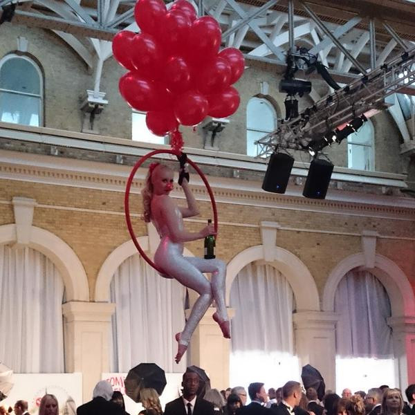 Dream Performance Red Nose Day Aerial Bar Tending