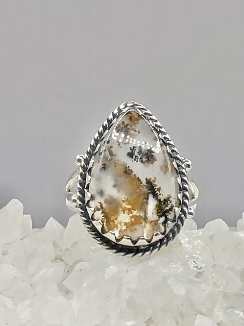 Robinson Ranch Plume Agate Ring size-7.5