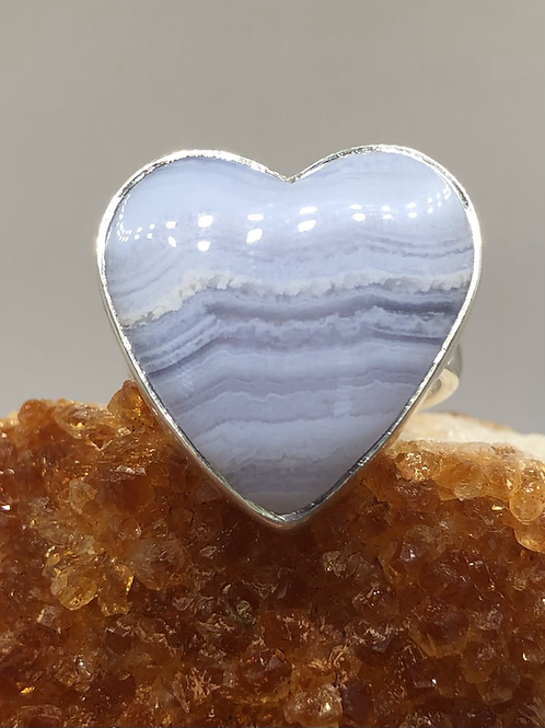 Sterling Silver Blue Lace Agate Ring Size 7