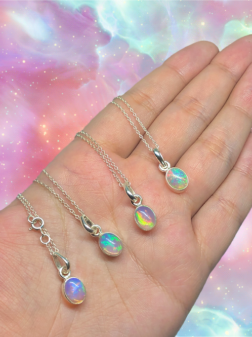 Sterling Silver Ethiopian Opal Necklace