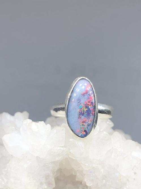 Sterling Silver Australian Triplet Opal Ring Size 8.5