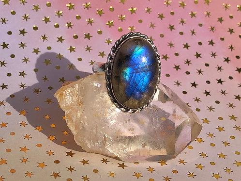 Fire Labradorite ring size 9