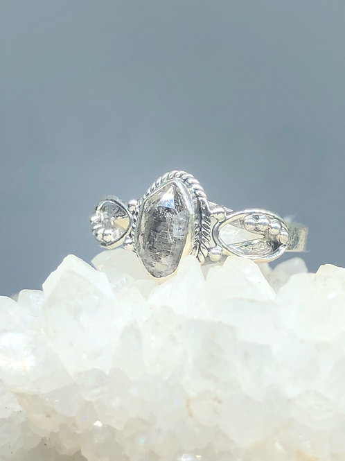Sterling Silver Herkimer Diamond Ring Size 9.5