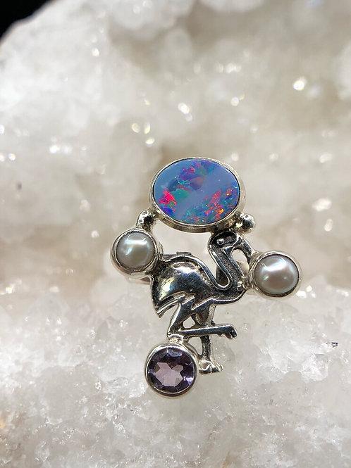 Sterling  Silver Australian Doublet Opal Ring Size 7.5