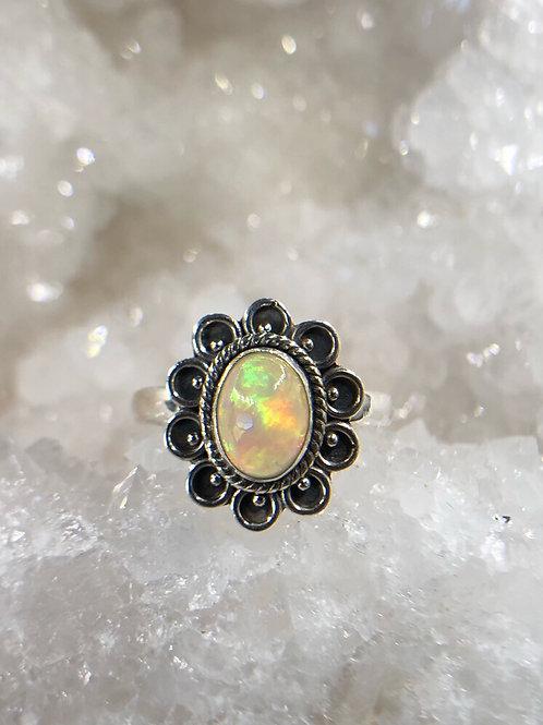 Sterling Silver Ethiopian Opal Ring 8.5