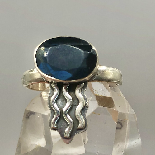 Sterling Silver Faceted Labradorite Ring Size 8