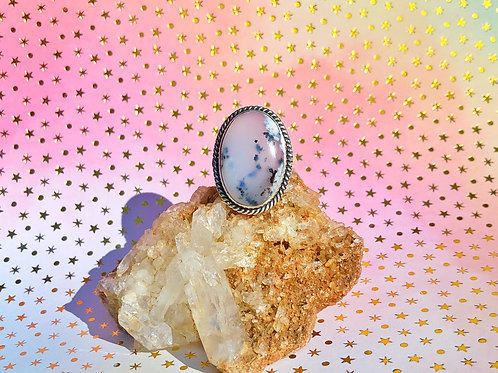 Dendritic opal ring size 10