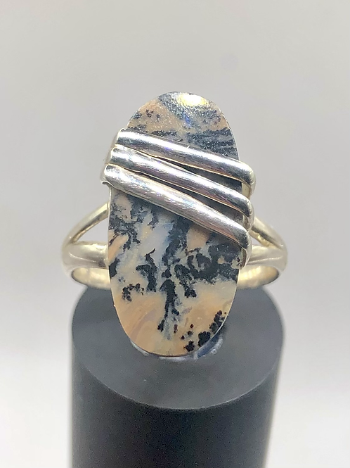 Sterling Silver Honey Dendritic Agate Ring Size 7