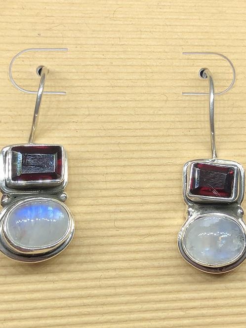 Sterling  Silver Moonstone Garnet  Earrings