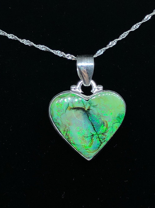 """Sterling """"Monarch"""" Opal Pendant With Chain"""