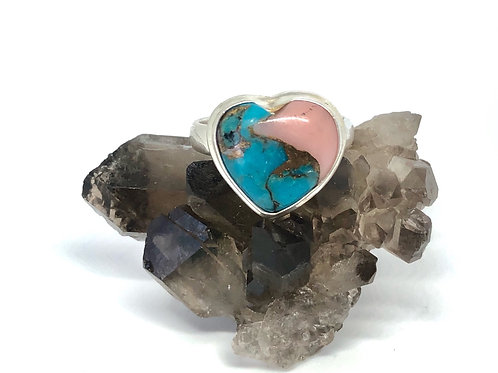 Sterling Silver Natural Pink Opal in Turquoise Ring Size 8.5
