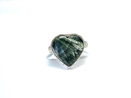 Sterling Silver Russian Seraphinite Ring Size 8