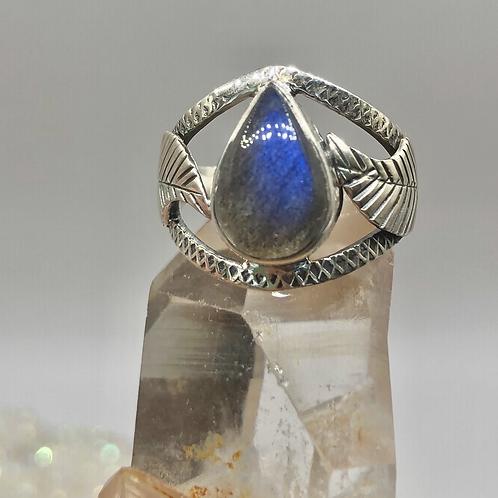 Sterling Silver Labradorite Ring Size 6