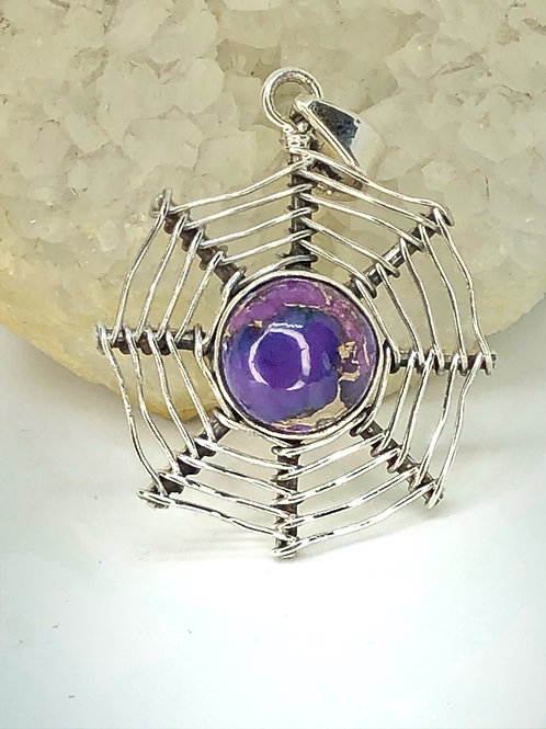 Sterling Silver Purple copper turquoise Pendant
