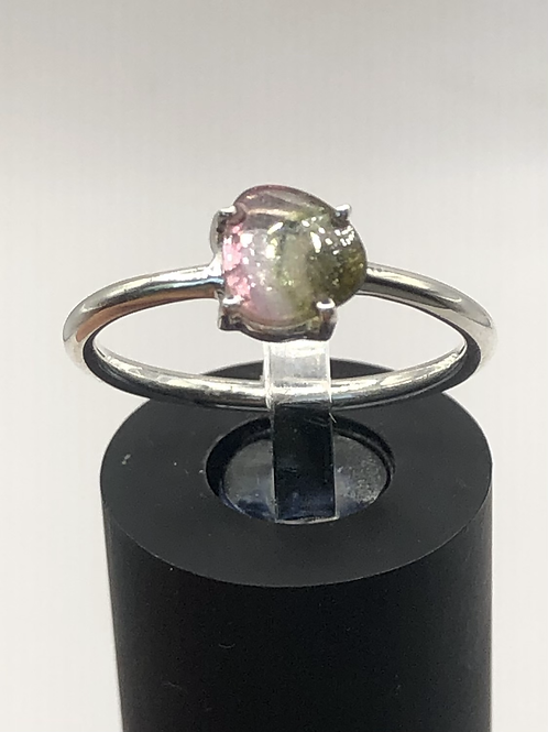 Sterling Silver Watermelon Tourmaline Ring Size 7.5