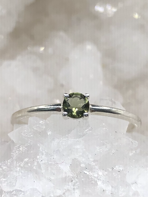 Sterling Silver Moldavite Ring Size 10