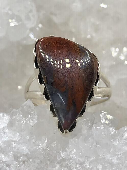 Red Brecciated Jasper Ring size-7.5