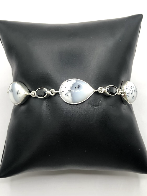 Sterling Silver Dendritic Opal and Black Onyx Bracelet
