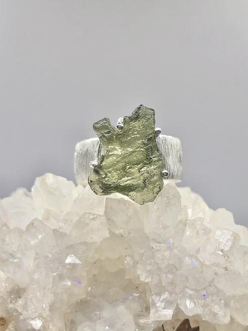 Sterling Silver Czech Moldavite Ring Size 8.5