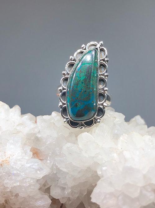 Azurite in Malachite Ring Size 8