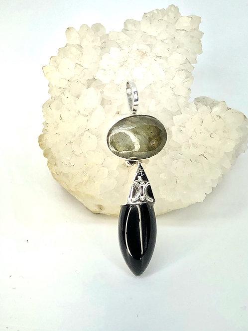 Sterling Silver Labradorite and Black Onyx Pendant