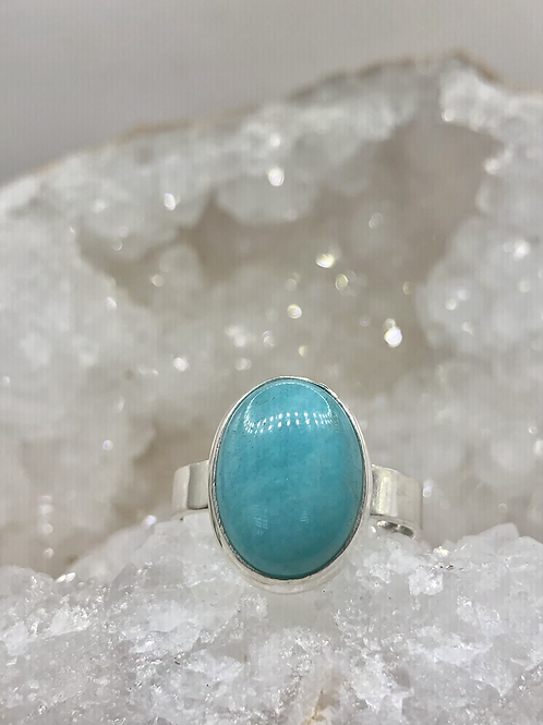 Sterling Silver Amazonite Ring Size 11