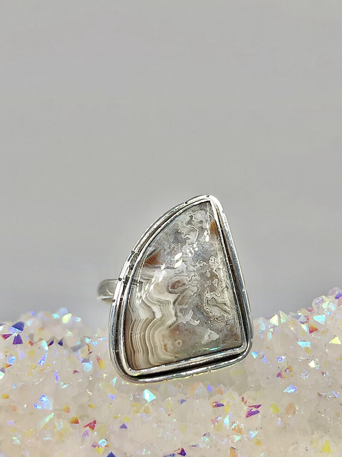 Sterling Silver Lace Agate Ring Size 10