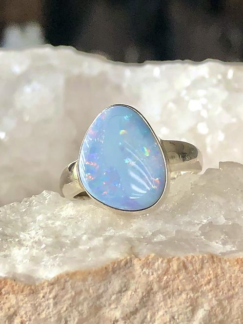 Sterling Silver Australian Opal Ring Size 8.5