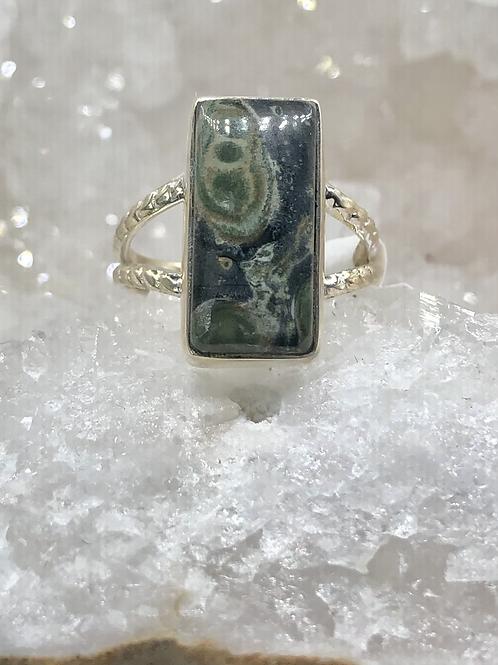 Sterling Silver Galaxy Jasper Ring Size 8