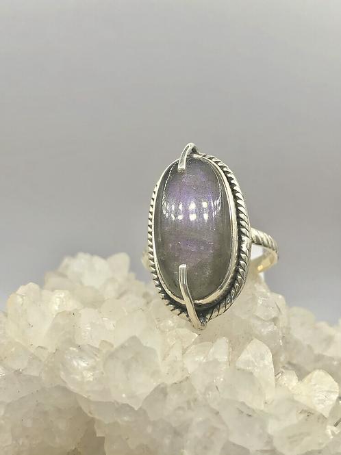 Sterling Silver Purple Labradorite Ring Size 8