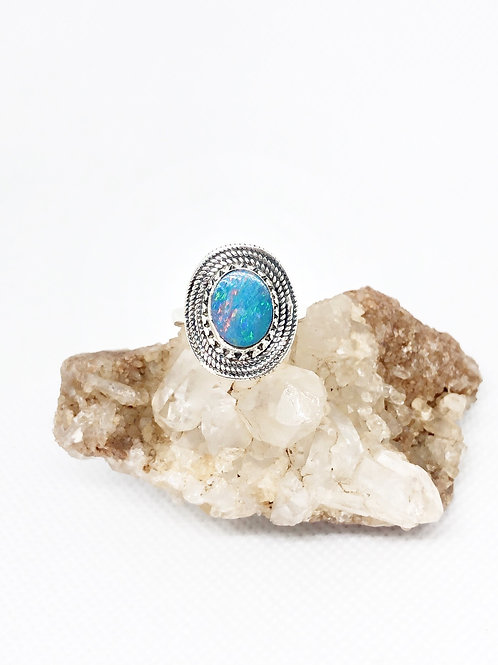 Sterling Silver Australian Doublet Opal Ring Size 7