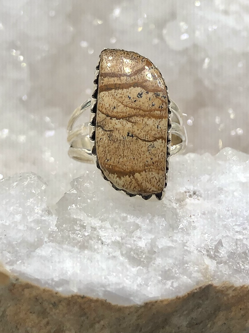 Sterling Silver Picture Jasper Ring Size 8